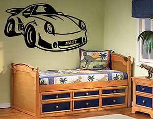 Price comparison product image Personalised Porsche 911 Car,  Sticker,  Wall Art,  Mural,  Giant,  Large,  Decal,  Vinyl - Black - Medium- 146cm(W) X 85cm(H) - Opposite to picture