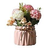 AZXAZ Flores Hortensia Artificiales con Macetero,Ramo de Flores de Seda Artificiales...
