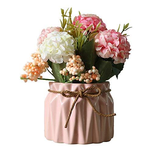 AZXAZ Flores Hortensia Artificiales con Macetero