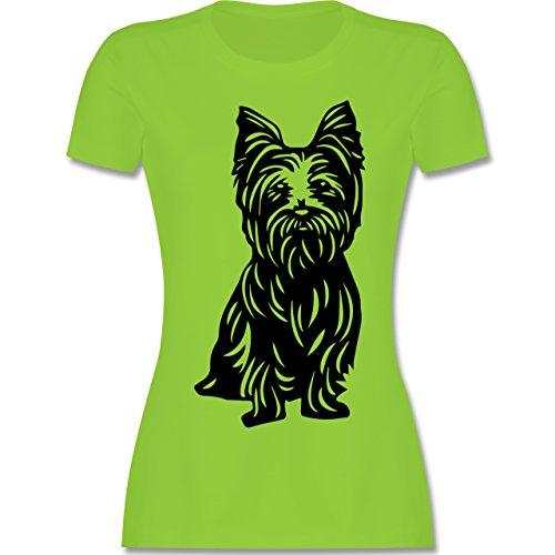 Hunde - Yorkshire Terrier - tailliertes Premium T-Shirt mit  Rundhalsausschnitt für Damen Hellgrün