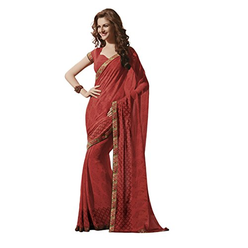 Subhash Sarees Orange Color Georgette Printed Saree  available at amazon for Rs.1457