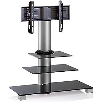 VCM 17018 Amalo Maxi Meuble TV avec 3 Étagères + Roulettes Incluses Aluminium/Verre Argent/Noir