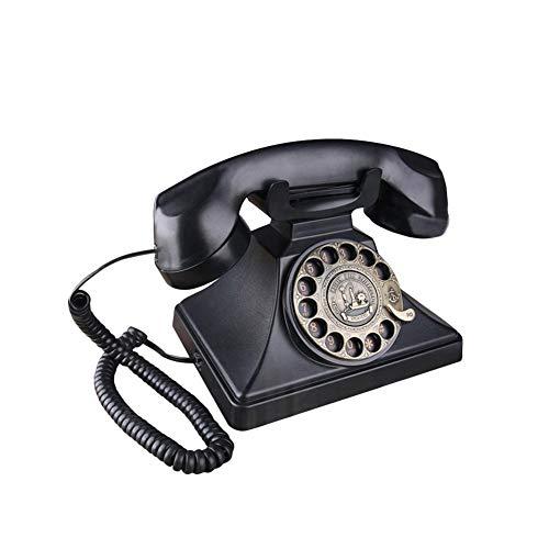 Vintage Telefone mit Drehscheibe, klassisch, Retro, altmodisch, Festnetz-Telefone mit Metallglocke, Freisprechfunktion und Redial Funktion für Zuhause, Schwarz