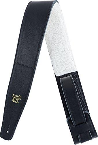 Cinturino in pelle italiana regolabile Ernie Ball 2,5 con imbottitura in pelliccia-nero