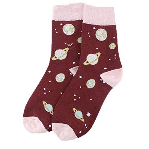 1 Paio Unisex Planet Socks Medio Cut Caviglia Il Colpo Violento Fumetto Piedi Modello Di Conservare I Materiali Caldi