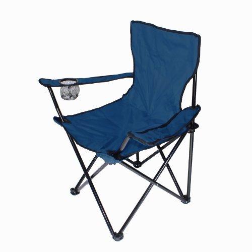Lex Chaise de pêche/camping pliable avec porte-gobelet et housse de transport bleu