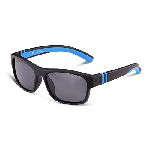 DUCO Kinder Sonnenbrille Polarisierte Sportbrille für Jungen und Mädchen (Schwarz003 Für Alter 5-12)