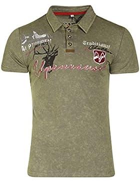 MarJo Herren Herren Trachten Polo T-Shirt Kurzarm Khaki, Khaki,