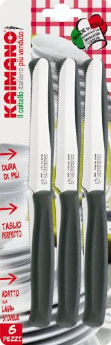 Kaimano KDN021506N 6 Coltelli Dinamik Tavola Lama Dentata Nero
