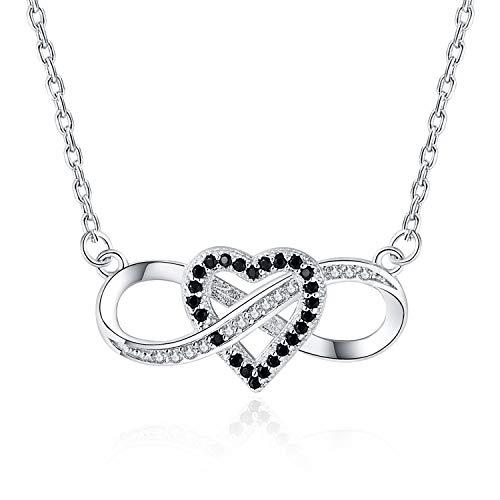 3e3bb334097e MORANY Infinito y Corazón Colgante de Collar con Auténtica Plata de ley 925  y Circonitas Joyería