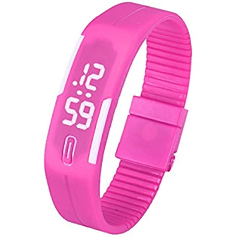 Tongshi Para mujer para hombre de goma Reloj LED Fecha Deportes pulsera reloj de pulsera digita (Rosa caliente)