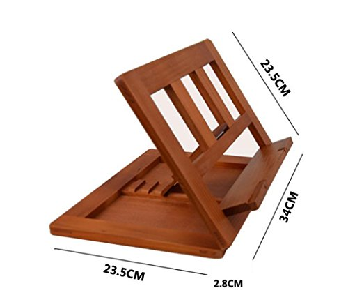 DFHHG® Soportes de estante, Soportes de lectura totalmente de madera Soportes de lectura Soportes de lectura de estantería Soportes de tableta portátil Recipe Holder durable