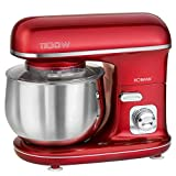 Küchenmaschine Rührmaschine mit Schüssel Edelstahl 5 Liter Knetmaschine Rot (1100 Watt, Schneebesen,...
