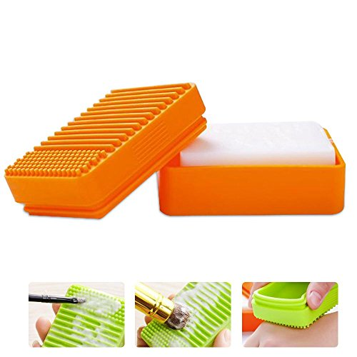 FOONEE 2in 1Silikon Make-up Pinselreiniger Seife Box, Kosmetik Pinselreiniger Pad Gummimatte Handschuh Reinigen Scrubber mit Schwammauflage Seife Aufbewahrungsbox Orange (Premium Storage Box-grün)