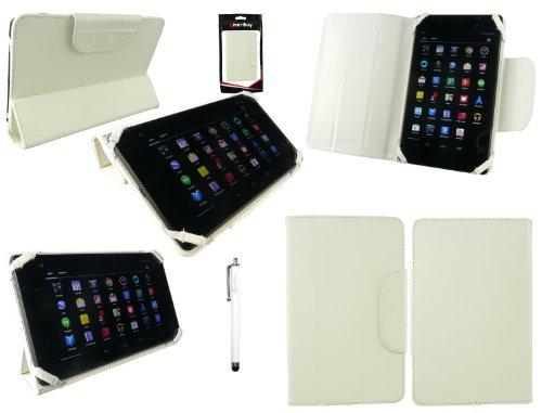 Emartbuy® Weiß Eingabestift + Weiß Universal-Tri-Fold Ultra Slim Mappen Kasten Abdeckung Geeignet für Prestigio MultiPad Wize 3787 3G 7 Zoll Tablet