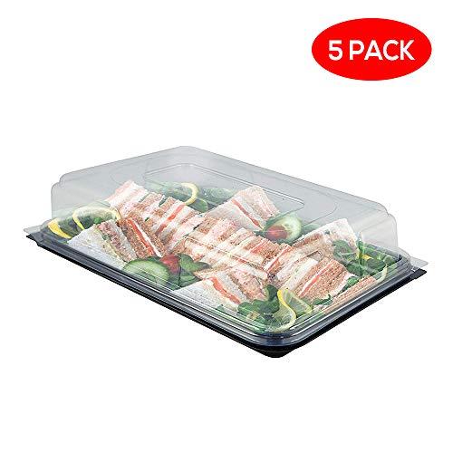 Servierplatte mit Deckel, Lebensmittel Transportbox aus Kunststoff, rechteckige Aufbewahrungsbox, idealer Transportbehälter für Catering, Sandwich und Party, 39cm X 29cm (5er Pack)