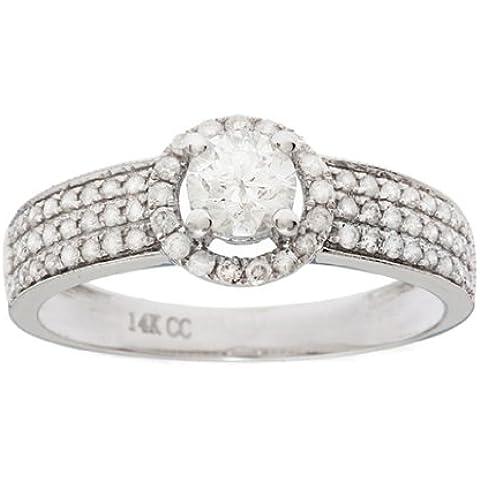 Donna anello di fidanzamento Halo 14 K