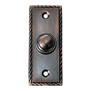 Adonai Hardware Rechteckige georgische Eisen Klingel Türklingel oder Druckknopf 84mm x 33.50mm Oil Rubbed Bronze