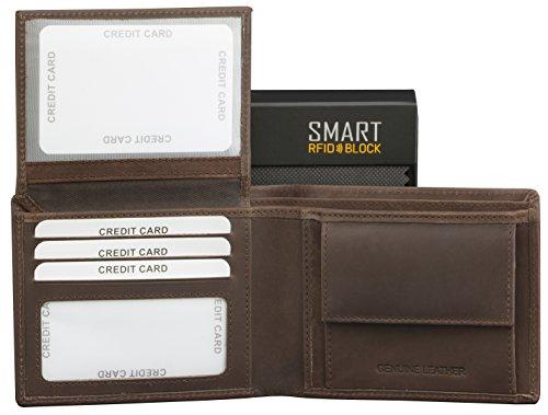 SMART RFID BLOCK Vintage Brieftasche - hochwertiger, hochwertiger Vintage braunes Leder - RFID-geschützt - Etui Geldbörse - Geschenkverpackung - TÜV-geprüft - bei KORUMA - (SM-902HBR) -