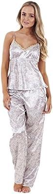 Conjunto de pijama de raso de 3 piezas para mujer camiseta encaje y pantalones cortos