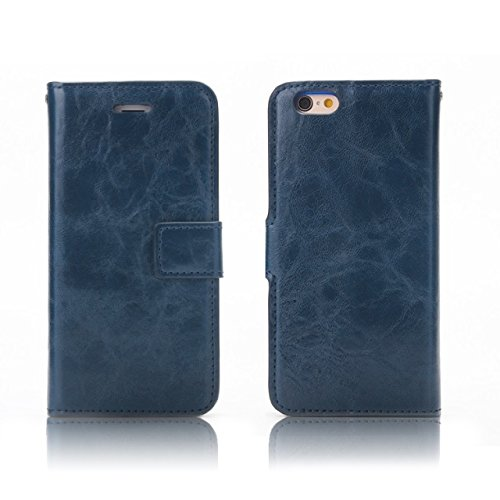 Verrückte Pferd Textur Flip Stand Fall Wallet Beutel Case Cover mit Card Slots & Abnehmbare Back Cover für iPhone 6 & 6s ( Color : Wine ) Blue