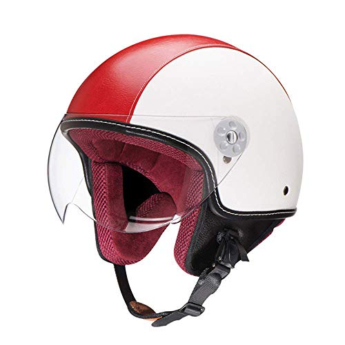 Notte ZR-Mono · Pilota Mofa Jet-Helmet Chopper Biker Bobber Retro Moto-Casco Vespa-Casco Cruiser Vintage Scooter-Casco · DOT Certificato · incl. Visiera · Bianco Rosso,M(57~58cm)