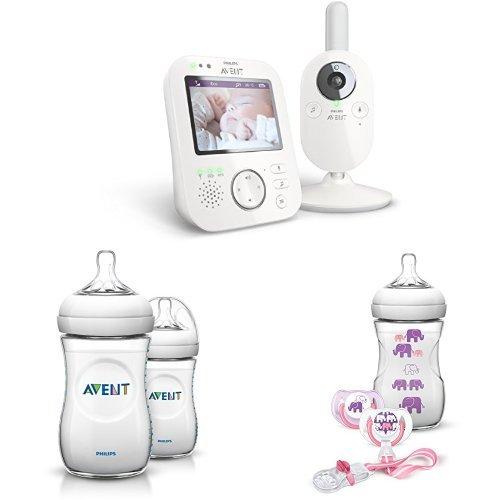 Philips Avent SCD630 Videophone Starter-Set für Mädchen, inkl.Flaschen u. Schnullerset