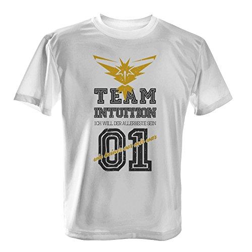 Fashionalarm Herren T-Shirt - Team Intuition Ich will der Allerbeste sein   Fan Shirt Team Gelb Poke Go Game, (Für Ketchum Kostüm Männer Ash)