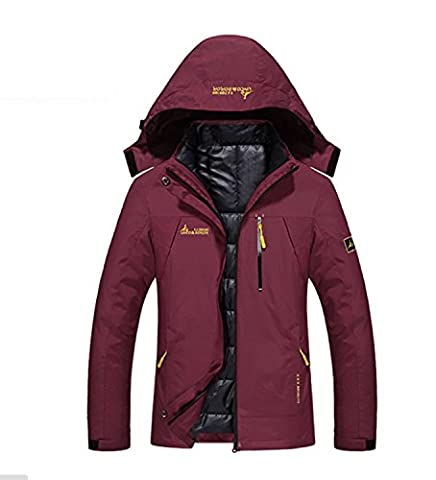 Vêtements chauds imperméables à l'eau pour femmes Imperméable à la pluie Épaississement Vêtements de sport éoliens Randonnée Mountaineer Voyage Hiver ( Color : Red , Size : 3XL )