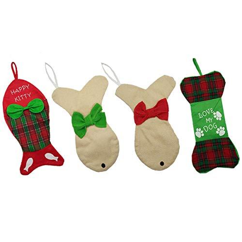 GZDDG 4Stück Hund Weihnachten Strümpfe Haustier Katze Weihnachten Ornament mit Schleife Fisch/Hunde Knochen Urlaub Weihnachten Strümpfe -