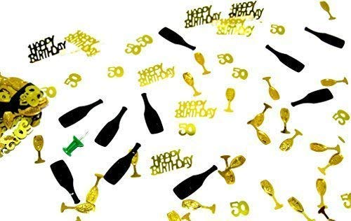 300 Stück GEBURTSTAGSPARTY mix ZAHL 50 gold, Champagner/Sekt Happy Birthday Mix Streudeko