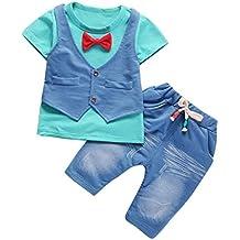 ❤️ Amlaiworld Conjunto de bebé niño de verano pequeños Niños Bebés Trajes de ropa Camiseta de manga corta + pantalones Conjunto de ropa de caballero 6 mes - 4 Años