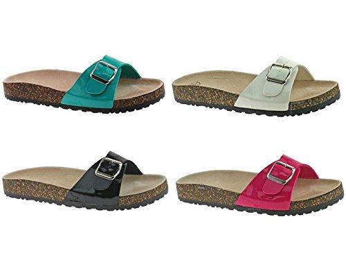 Damen Sandalen Comfort Kork einer einzelnen Schnalle Schuhe Pantoletten Zehentrenner Beach Schwarz