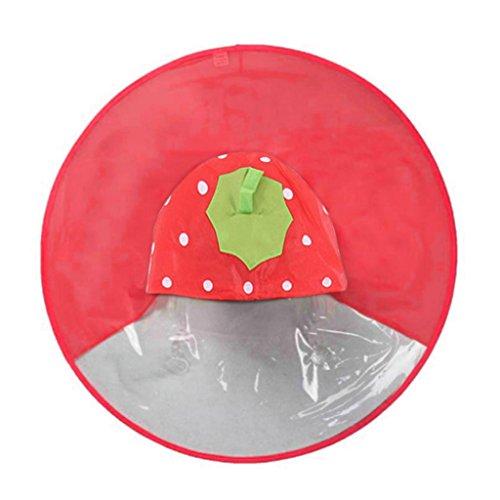 LSAltd Unisex Children Novelty Cute Cartoon Duck Rain Coat Portable Foldable UFO Shape Umbrella Hat Hands Free Raincoat