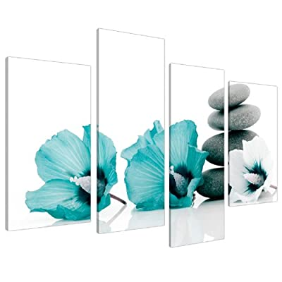 Large Teal Flower Floral Canvas Wall Art Pictures 130cm Set XL 4072 - cheap UK canvas shop.