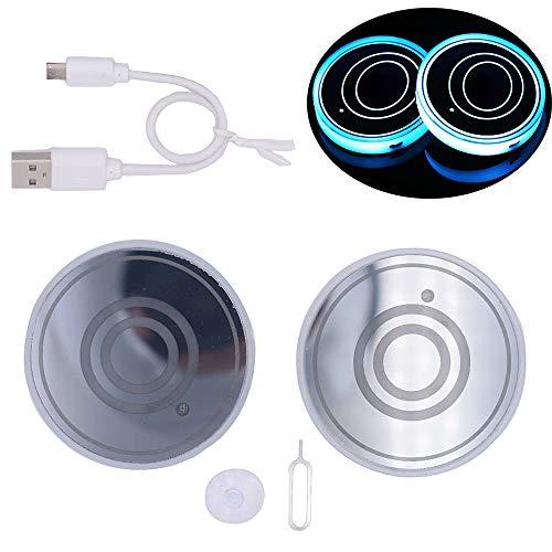 Auto LED Untersetzer, 2 Stück Rundes Muster Logo Multicolor Light Car Coaster,Wird Für Untersetzer Von Getränkebechern Verwendet, Auch Als Autodekorationlichter