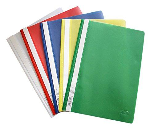 Preisvergleich Produktbild Schnellhefter A4, aus Kunststoff, 20 Stück, 5 Farben, 4 x blau/weiß/gelb/grün/rot