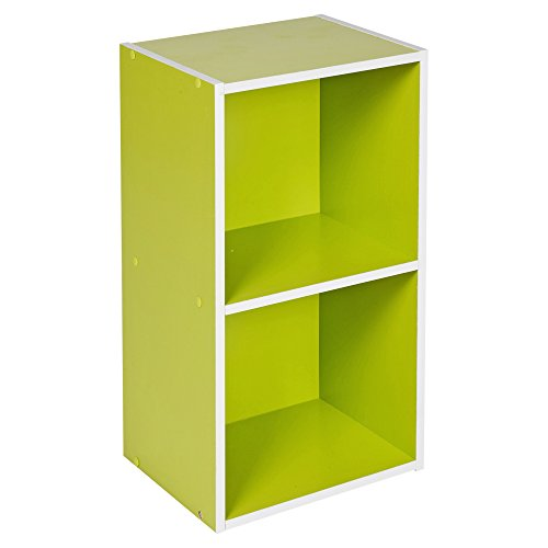 Urbn Living® 1, 2, 3, 4 étages en bois Bibliothèque Étagère de rangement étagère en bois, vert, 2 Tier