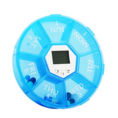 Floridivy Wöchentliche Pill Organizer Digital Timer 7 Gitter Pill Box Wecker Erinnerung Tablet Dispenser Fall (Timer-pille Fällen)