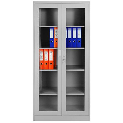 Aktenschrank C012 Flügeltür aus Glas Medizinschrank Metallschrank Büroschrank Universalschrank Flügeltürschrank Stahlschrank Lagerschrank Ideal für Büro Verschließbar (grau/grau)