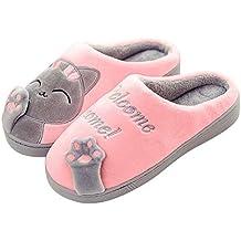 5f9118ccf Sixspace Zapatillas de Estar por casa Gato para Mujer Invierno Interior  Caliente Suave Antideslizante Slippers Hombre