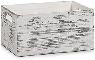 Zeller 15133-Caja de almacenaje, madera, Rustic Blanco, 30x 20x 15cm