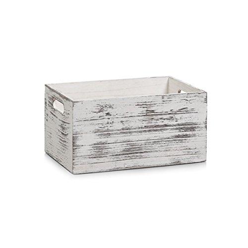 Zeller 15133 Aufbewahrungs-Kiste, Holz, Rustic weiß, 30 x 20 x 15 cm