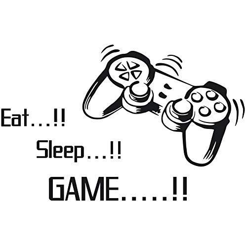 Scrox 1pcs Pegatinas Eat! Sleep! Game! Stickers Pared Personalidad Inglés Papel Pintado Autoadhesivo Fresco Dormitorio DIY Vinilo Decorativo