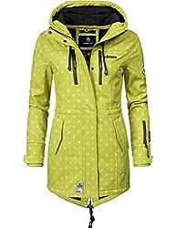 Marikoo Damen Softshell-Jacke Outdoorjacke Zimtzicke Grün Dots Gr. XS