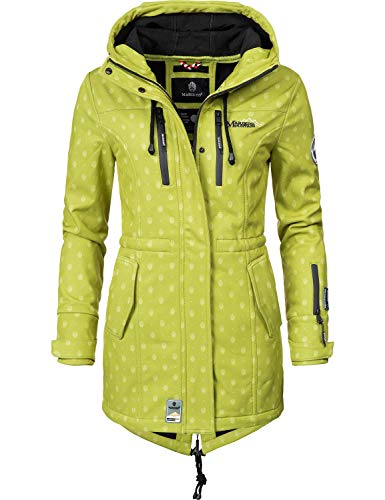 Marikoo Damen Softshell-Jacke Outdoorjacke Zimtzicke Grün Dots Gr. S (Winter Wasserdicht Mantel Damen)