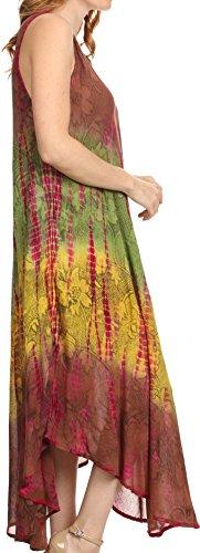 Vestito di cotone di cachetto di Sakkas Ombre Floral Tie Dye Tank del cotone Marrone