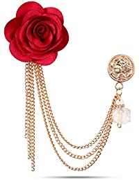 PANJATAN WI Retail Maroon Fabric Rose with Floral Rose Gold Chain Brooch for Men and Women