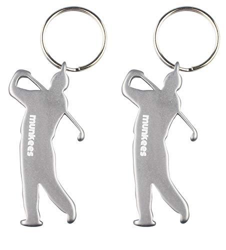 munkees 2 x Schlüsselanhänger Golfer-Figur Flaschenöffner Sport-Fans, Doppelpack Silber, 352519 -