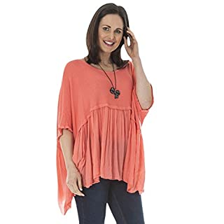 Love My Fashions® Womens Top Ladies Italian Lagenlook Plain Casual Batwing 3/4 Frilly Sleeve Loose Chiffon Layered Style Tunic Round Neck Pullover Summer Plus Size